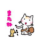 ウクレレを弾く猫 (白)(個別スタンプ:17)