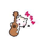 ウクレレを弾く猫 (白)(個別スタンプ:24)