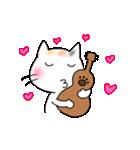 ウクレレを弾く猫 (白)(個別スタンプ:25)