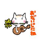 ウクレレを弾く猫 (白)(個別スタンプ:31)