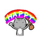 ウクレレを弾く猫 (グレー)(個別スタンプ:01)