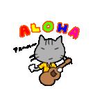 ウクレレを弾く猫 (グレー)(個別スタンプ:04)