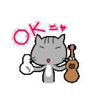 ウクレレを弾く猫 (グレー)(個別スタンプ:12)