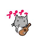 ウクレレを弾く猫 (グレー)(個別スタンプ:33)
