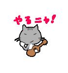 ウクレレを弾く猫 (グレー)(個別スタンプ:35)