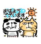 【敬語DAYO!!】ぶさかわにゃんこ&ぱんだ①(個別スタンプ:01)