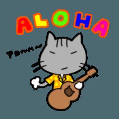 [LINEスタンプ] ウクレレを弾く猫 (グレー) (1)
