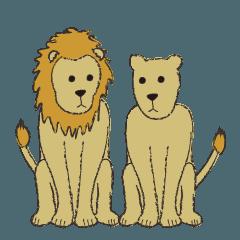 真顔のライオン夫婦