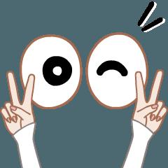 [LINEスタンプ] 目&手(動く)