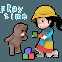 幼稚園ちゃんとテディ君 【ママスタンプ】