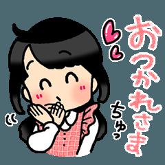 [LINEスタンプ] (妻)主婦に便利☆黒髪女子第3弾