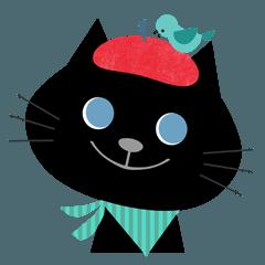 猫と子供のスタンプ