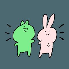 ゆるいウサギさんとカエルさんのスタンプ