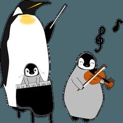 才能溢れる皇帝ペンギンの親子