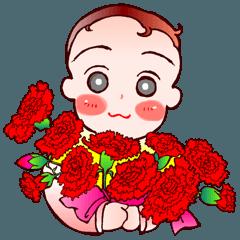 [LINEスタンプ] でこちゃんの花束;母の日も梅雨の晴れ間も (1)