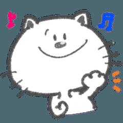 [LINEスタンプ] ほんわか白ネコ