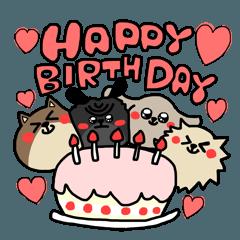かわいい犬たちの誕生日スタンプ