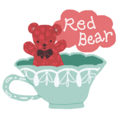 薔薇の模様の赤いクマさん